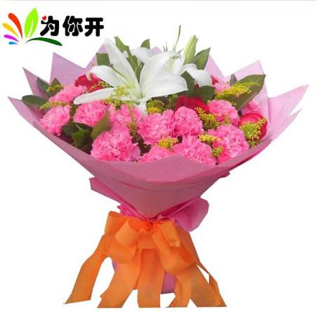 绿叶 【包装说明】                     粉色皱纹纸折角圆形包装如图